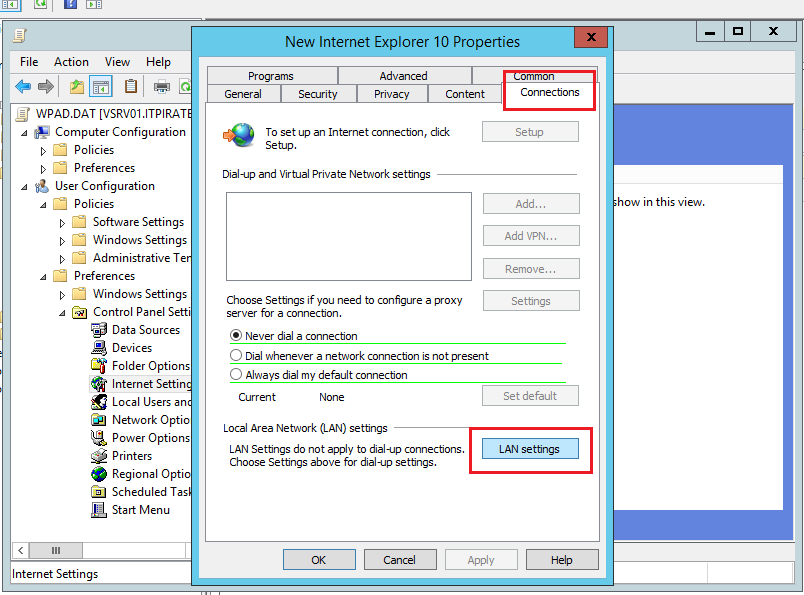 How to configure Internet Explorer 11 proxy settings via