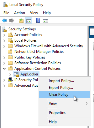 Windows 10 AppLocker Policies still affect after disabling